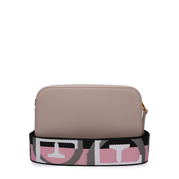 [CLEARANCE] - Brava Mini Crossbody Bag in Textured Leather with Logo Ribbon Fabric Shoulder Strap