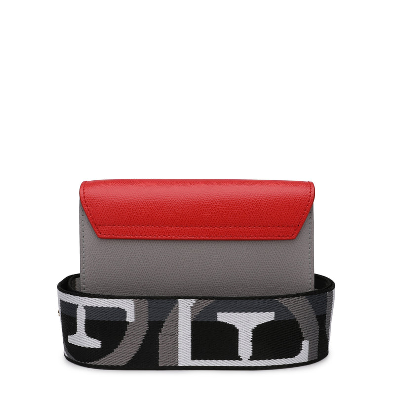 [CLEARANCE] - Metropolis Brava Mini Crossbody Bag in Textured Leather with Logo Ribbon Fabric Shoulder Strap