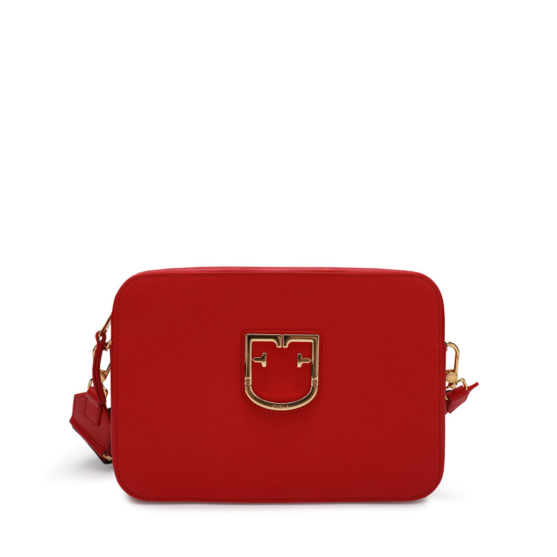 Furla Brava Crossbody Bag S with Bicolor Ribbon Fabric Shoulder Strap