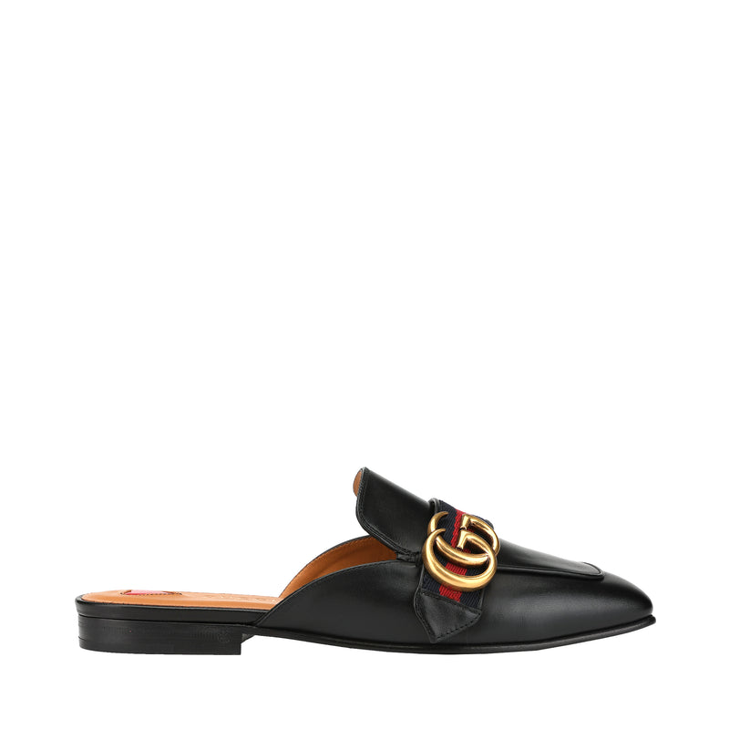 Gucci GG Buckle Leather Mules