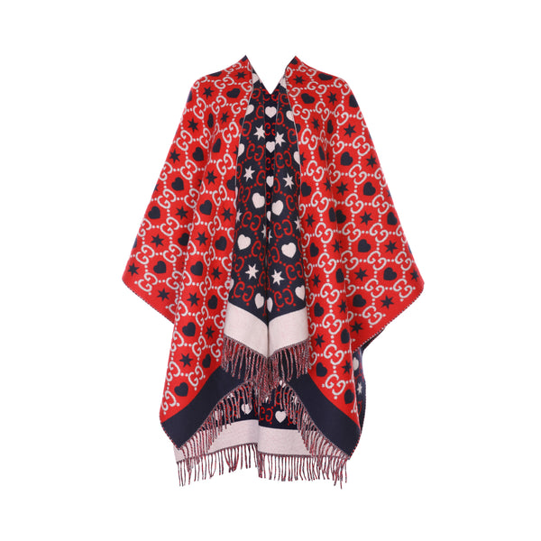 Gucci Reversible GG Fringed Poncho