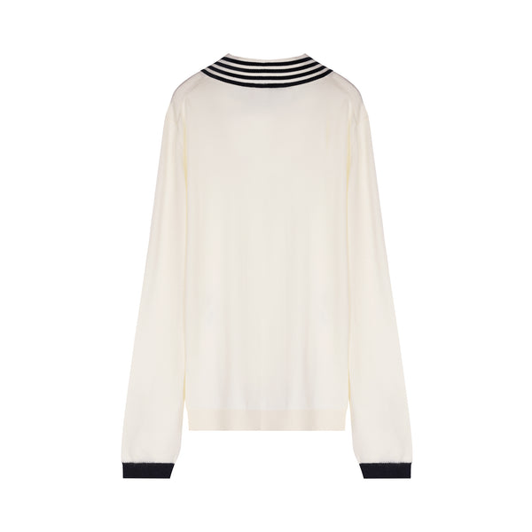 [CLEARANCE] - V Neck Wool Knit with Bee