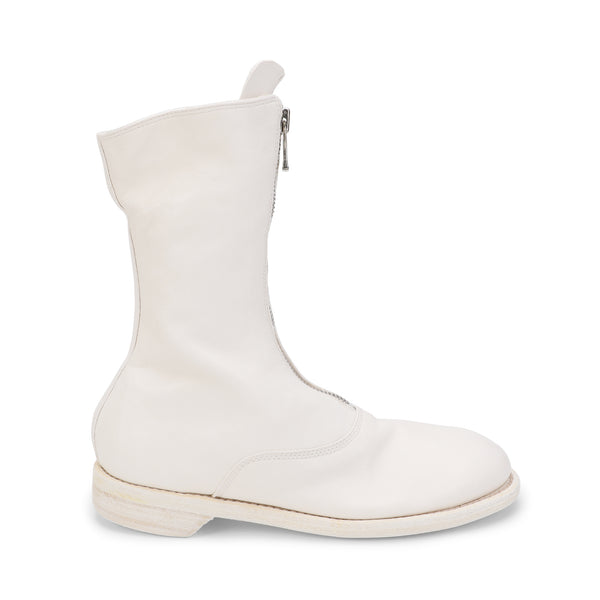 White Leather Mid-calf Length Boots