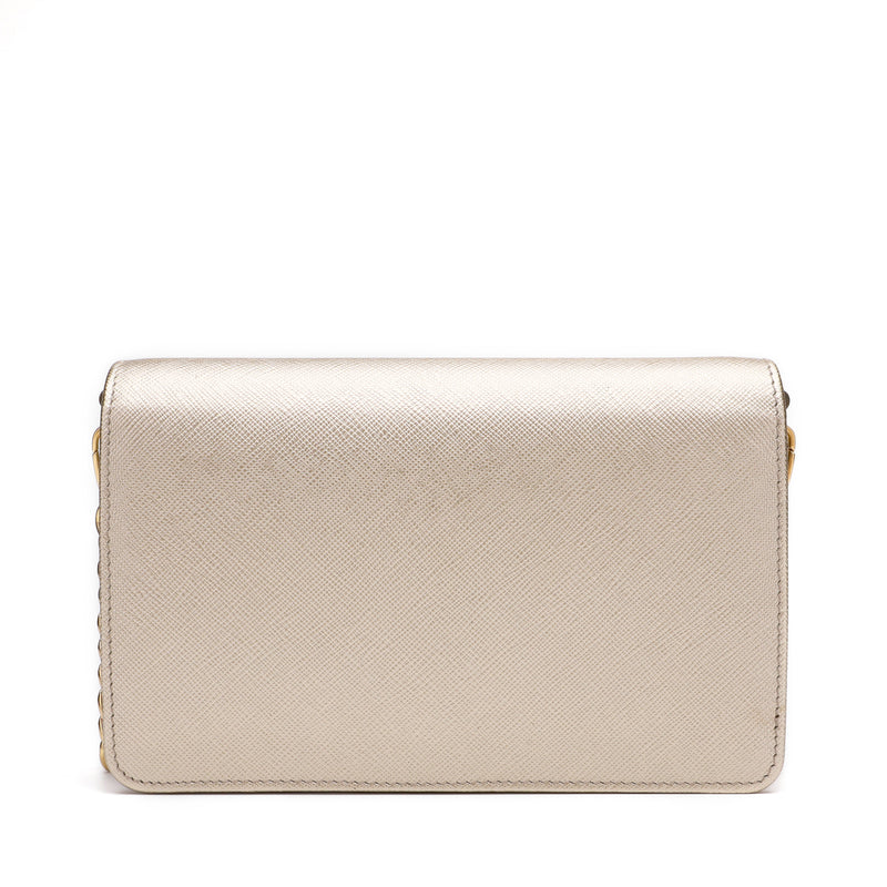 [CLEARANCE] - Saffiano Logo Plaque Clutch