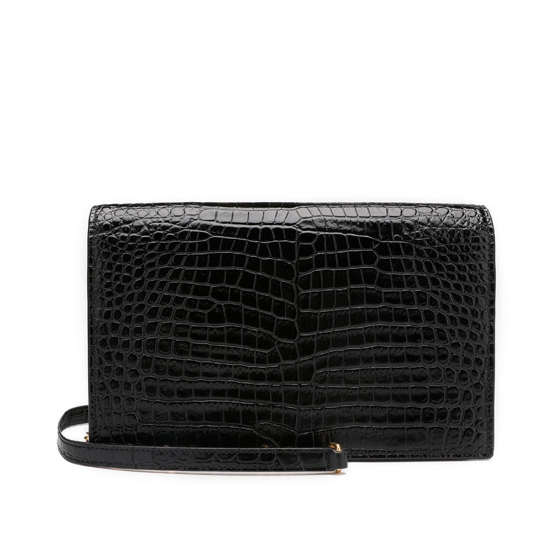 Saint Laurent Kate Monogram Tassel Bag in Cocordile Leather