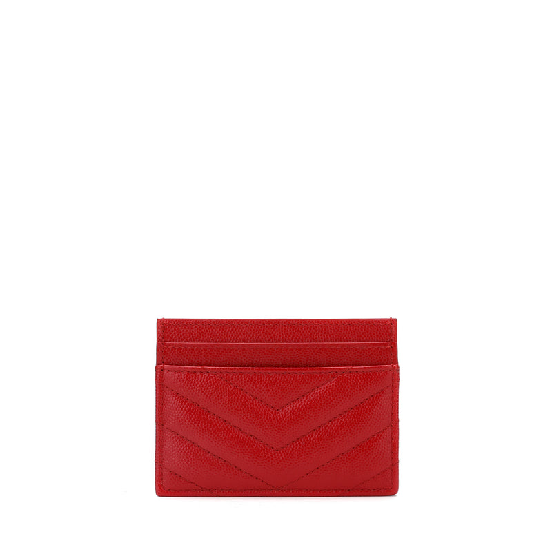 Saint Laurent MONOGRAM Quilted Textured Leather Card Holder