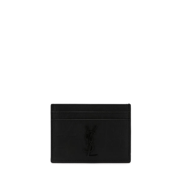 Saint Laurent Crocodile Embossed Leather Cardholder