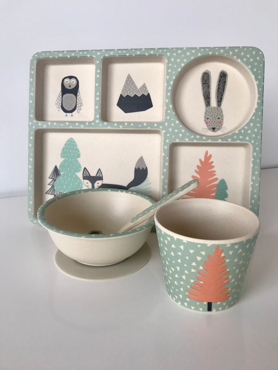 Love Mae Fox & Friend Bamboo Dinner Set