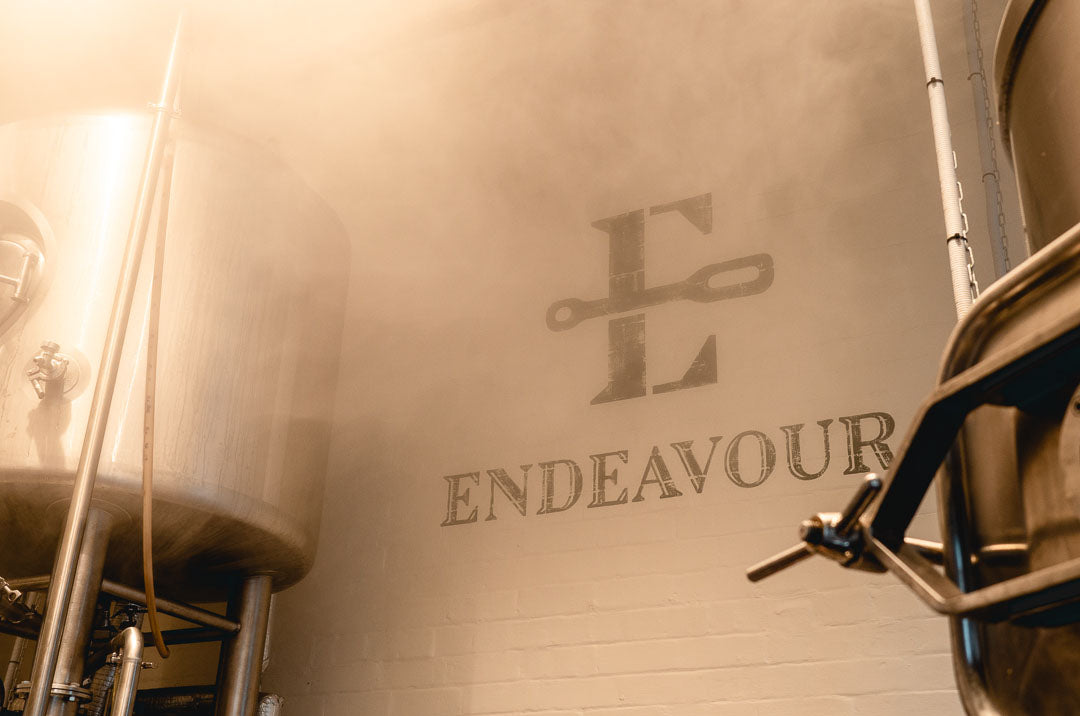 Endeavour logo on the wall in the brewery