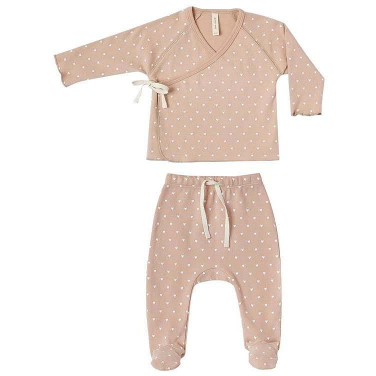 Quincy Mae Petal Kimono Top + Footed Pant Set