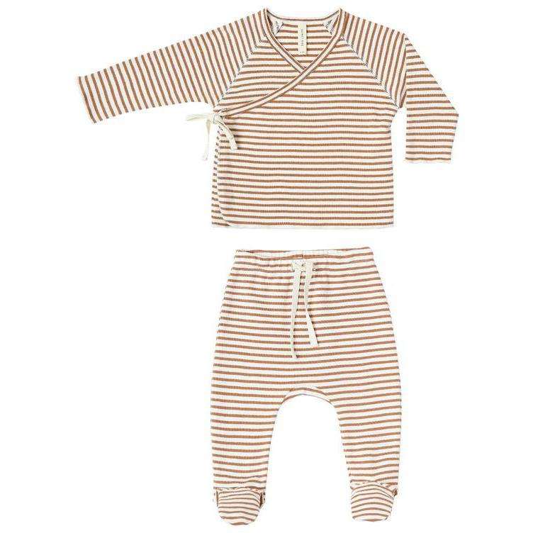 Quincy Mae Rust Stripe Kimono Top + Footed Pant Set