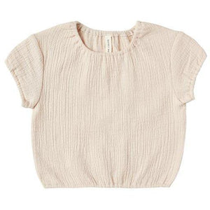 Quincy Mae Natural Cinched Woven Tee
