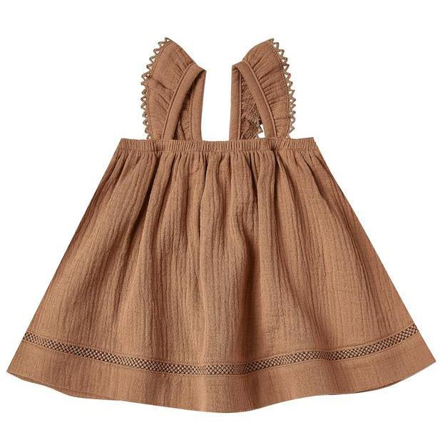 Quincy Mae Rust Ruffled Tube Dress