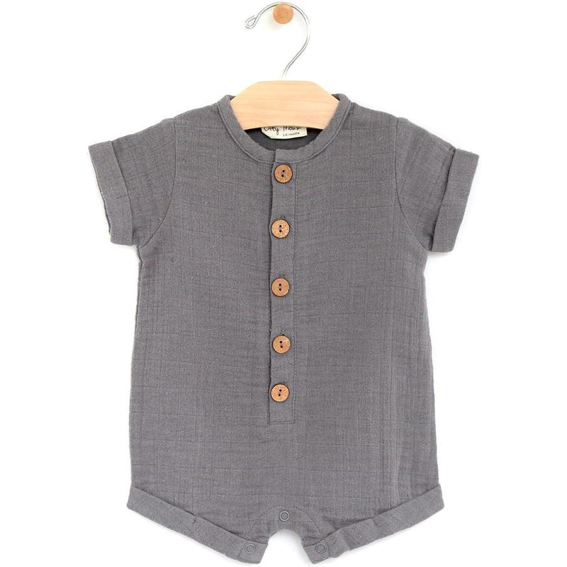City Mouse Muslin Short Button Romper - Pewter