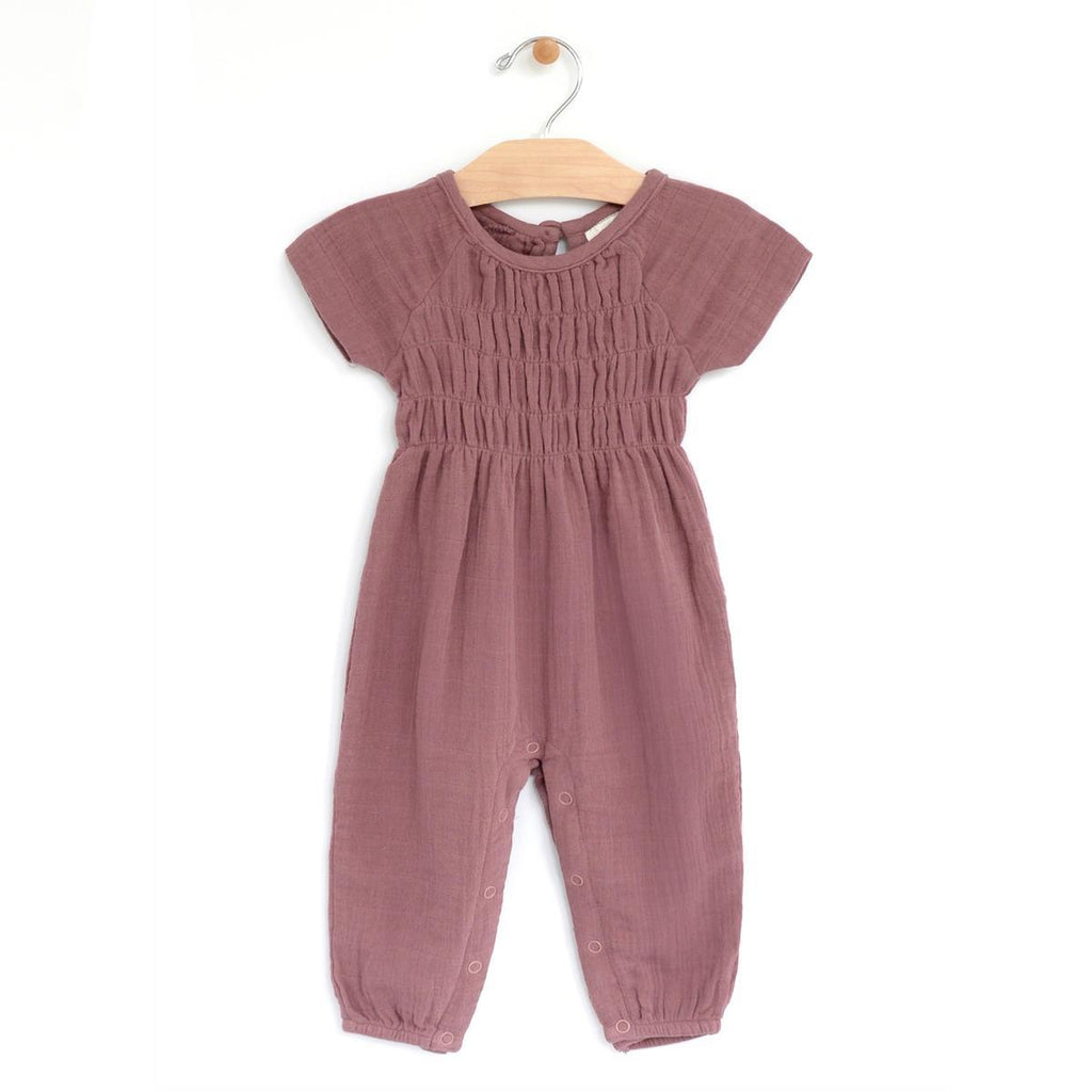 City Mouse Muslin Synched Long Romper - Sangria Mauve