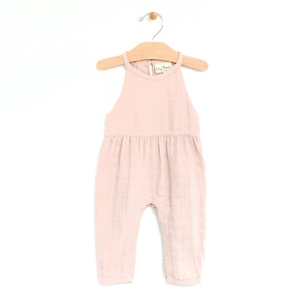 City Mouse Muslin Lace Back Romper - Peach Blossom