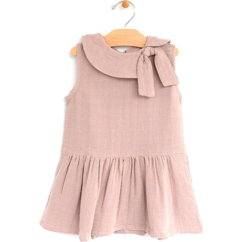 City Mouse Muslin Retro Collar Dress - Dusty Mauve