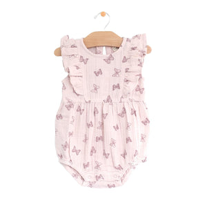 City Mouse Muslin Flutter Bubble Romper - Butterflies