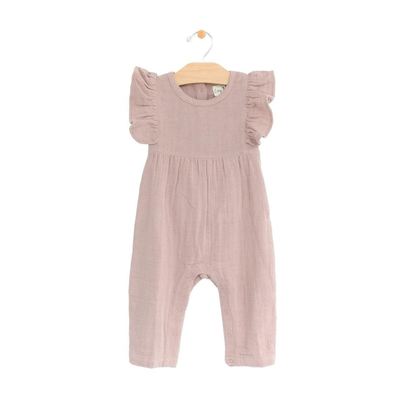 City Mouse Muslin Long Flutter Romper - Dusty Mauve