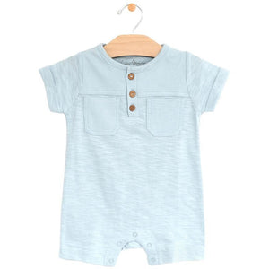 City Mouse Short Pocket Romper - Sky