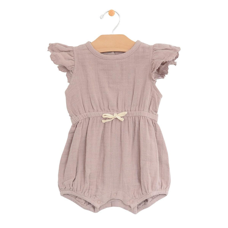City Mouse Muslin Waist Tie Romper - Dusty Mauve