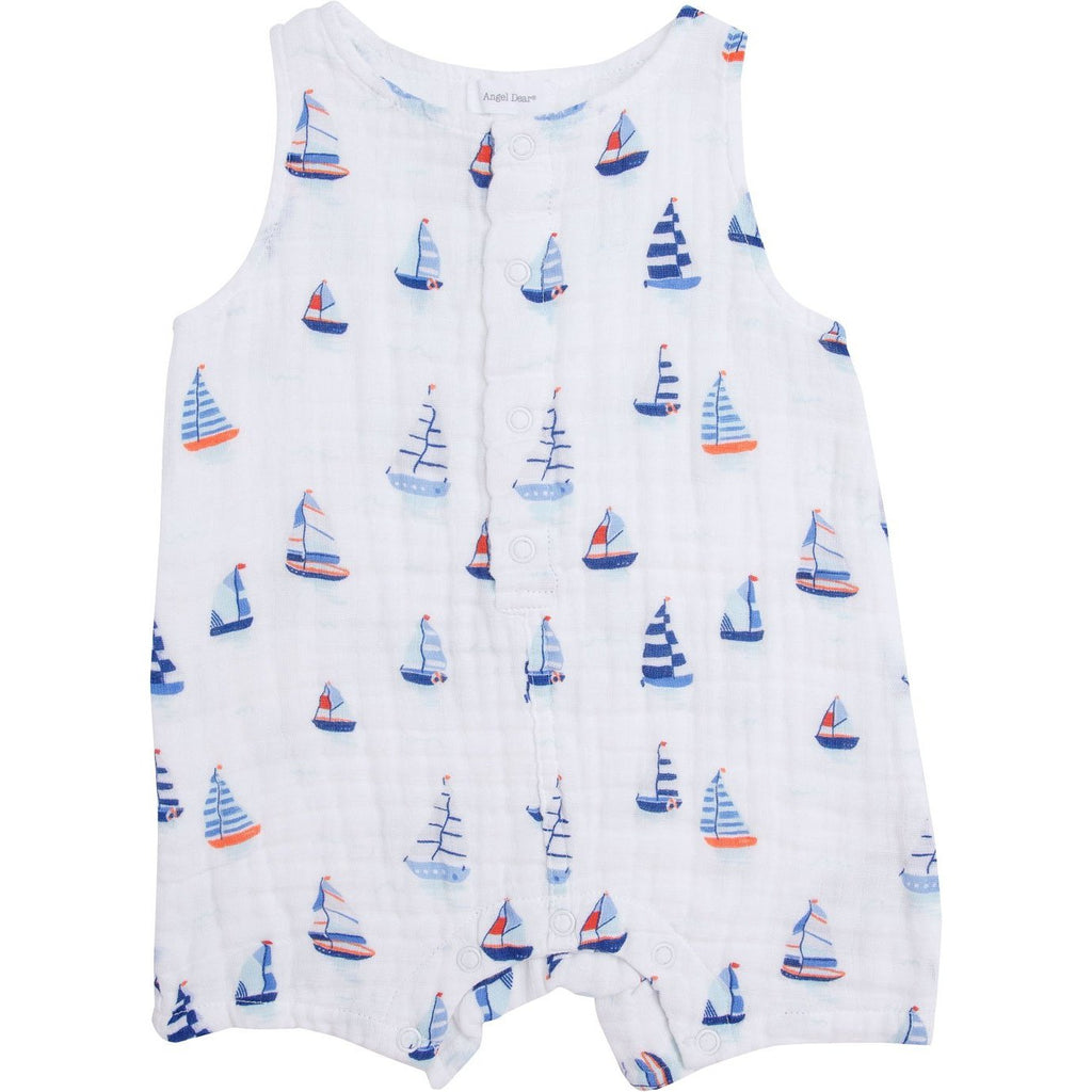 Angel Dear Nautical Boats Shortie Romper