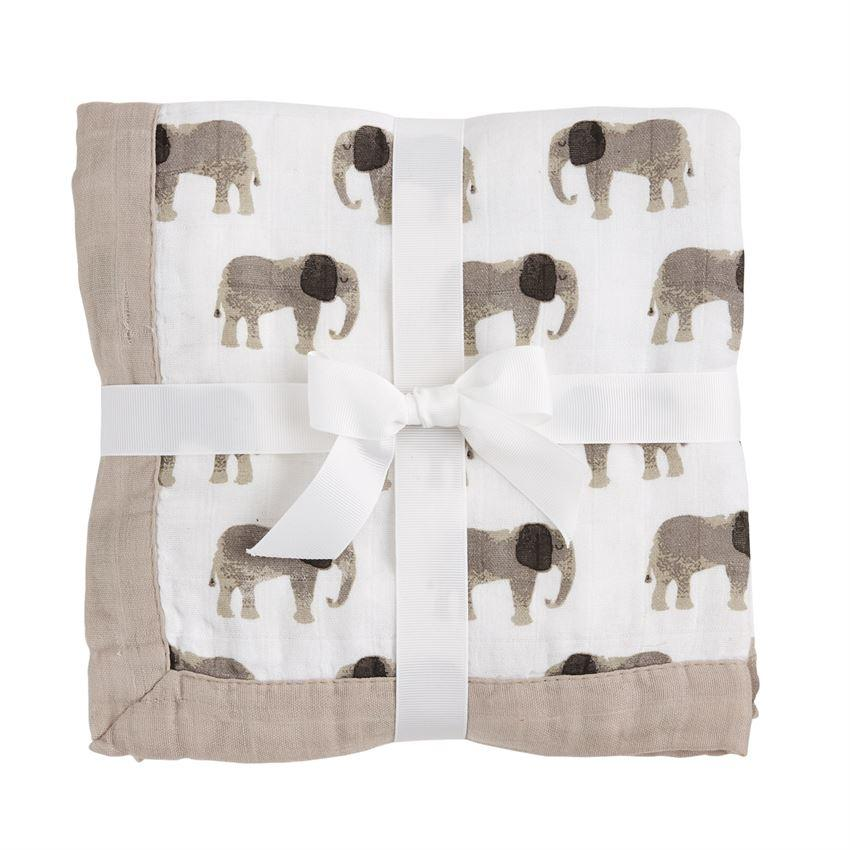 Mud Pie Elephant Knit Blanket