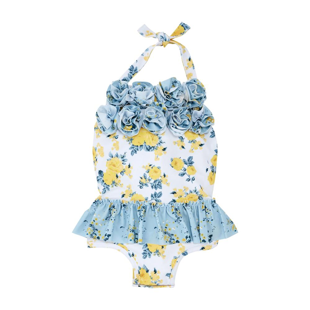 Mud Pie Blue Floral 1 pc Swimsuit