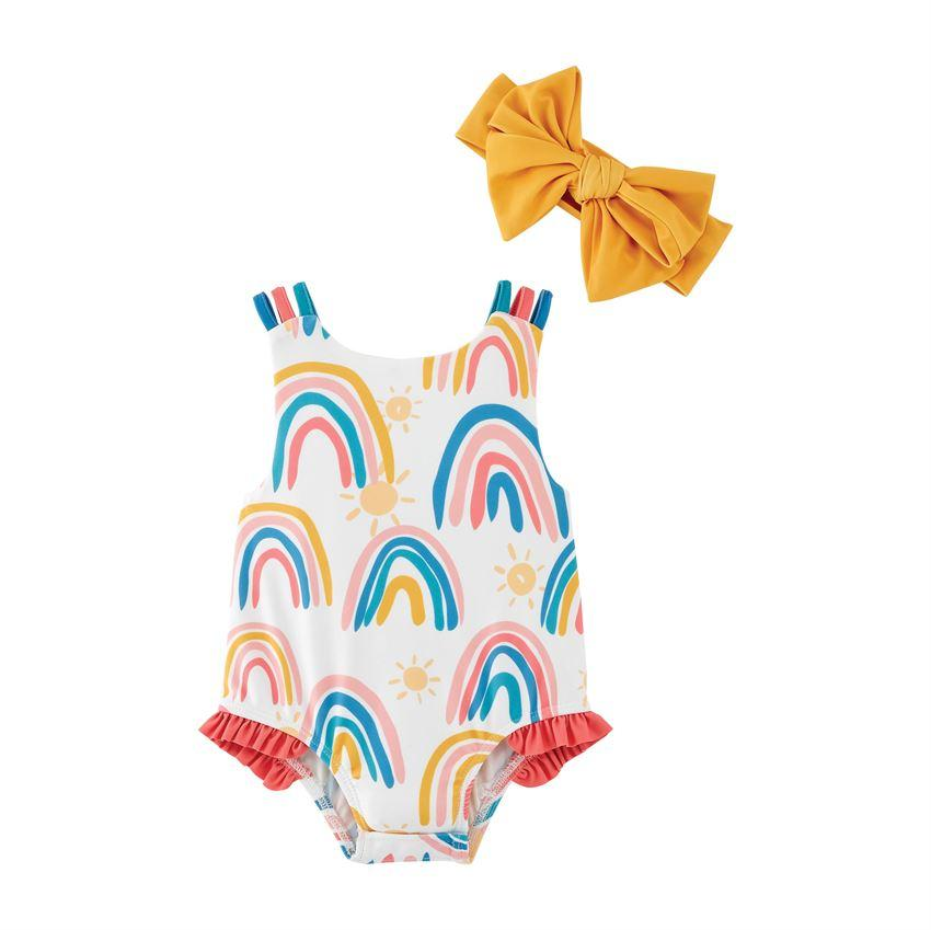 Mud Pie Rainbow Swimsuit with Headband