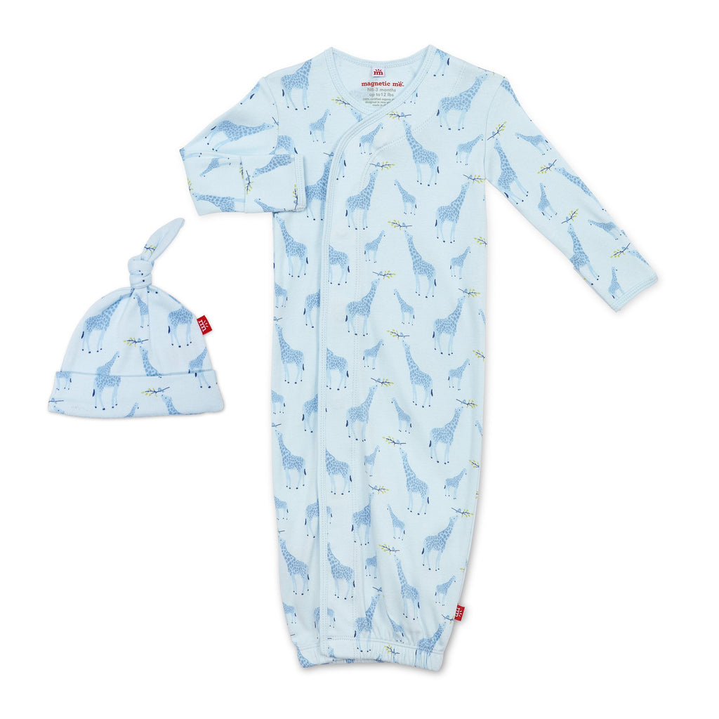 Magnetic Me Blue Jolie Giraffe Organic Cotton Magnetic Gown & Hat Set
