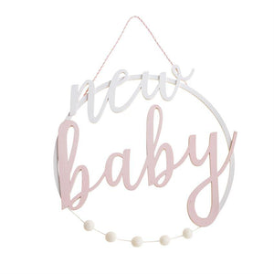 Mud Pie New Baby Pink Door Hanger