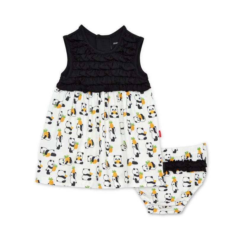 Magnetic Me Pudgy Pineapple Modal Dress + Diaper Cover Set