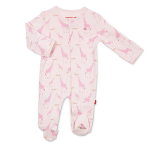 Magnetic Me Pink Jolie Giraffe Organic Cotton Magnetic Footie
