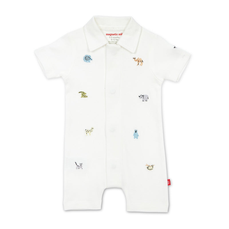 Magnetic Me Zoo Crew Organic Cotton Polo Romper