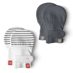 Goumi Mitts 2 Pack - Striped Grey, Midnight 0-3 M