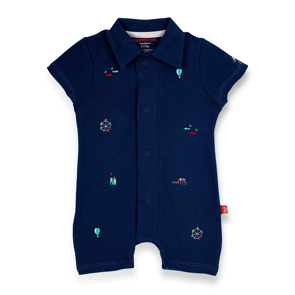 magnetic me fun fair organic cotton magnetic polo romper