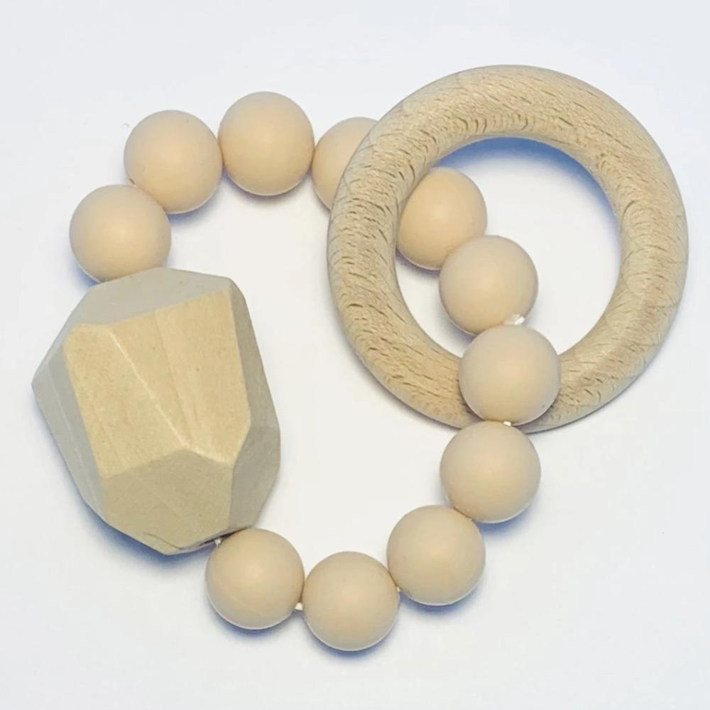 Sugar + Maple Silicone + Beechwood Teether Gem - Natural