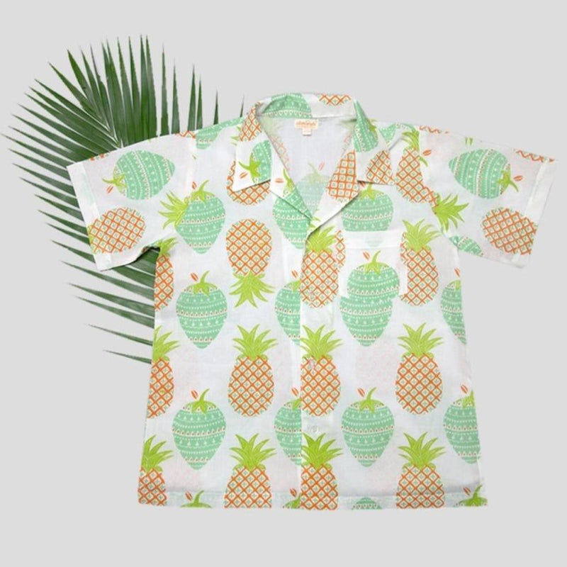 Almirah Boy Shirt Print Pine Mint