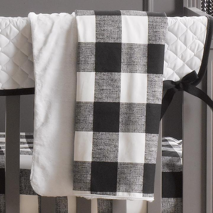 Liz & Roo Buffalo Check (Black & White) Minky Receiving Blanket
