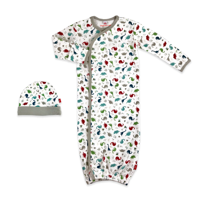 Magnetic Me Dino Expedition Organic Cotton Magnetic Gown & Hat Set
