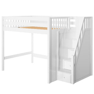 Maxtrix Full XL High Loft Bed with Stairs