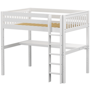 Maxtrix Full XL High Loft Bed with Straight Ladder + Desk
