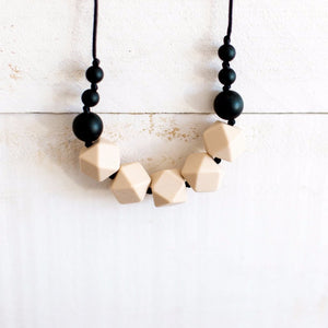 BayBee Boutique Oatmeal + Black Silicone Teething Necklace