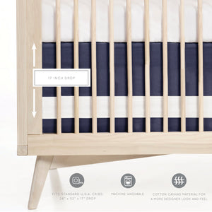 Oilo Solid Crib Skirt - Indigo