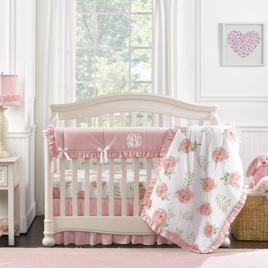 Liz & Roo Pink Peony Bumperless Crib Bedding 4-pc. Set with Quilt