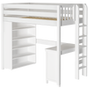 Maxtrix Twin High Loft Bed with Straight Ladder on end, Storage + Desk