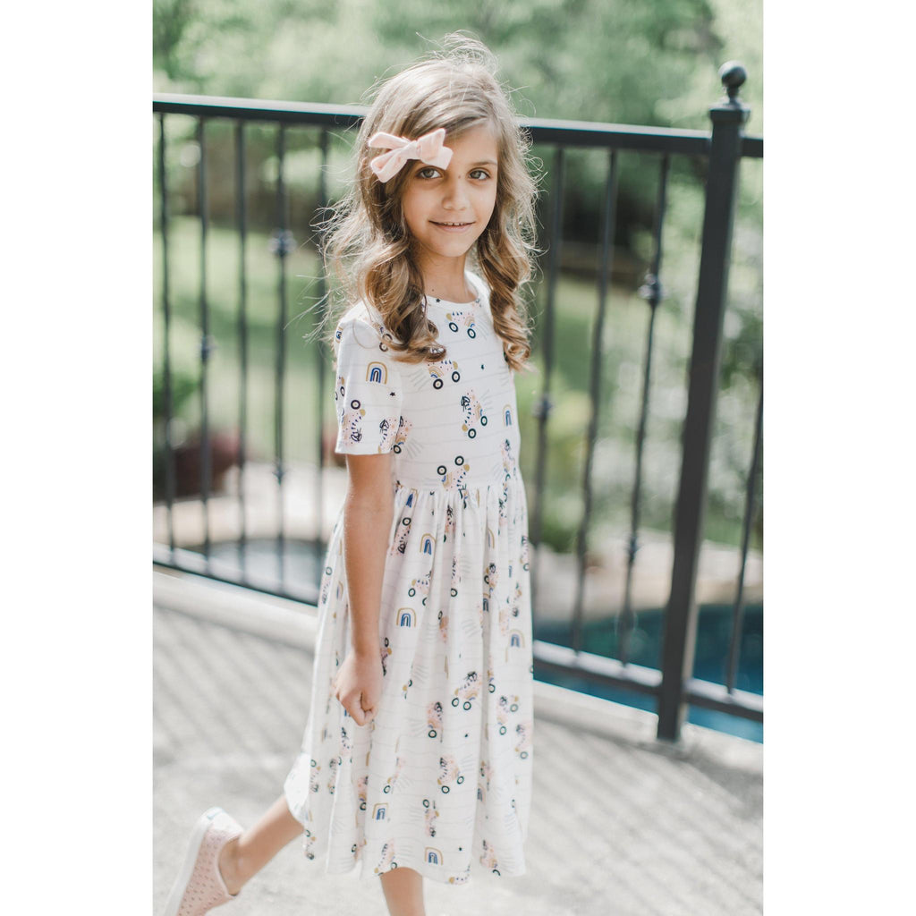 Mila & Rose Rollin' Rainbow Short Sleeve Twirl Dress