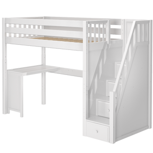 Maxtrix Twin High Loft Bed with Stairs + Corner Desk