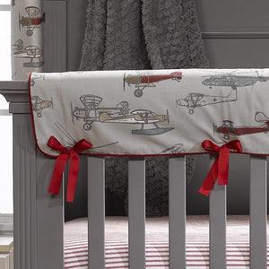 Liz & Roo Vintage Airplanes Crib Rail Cover