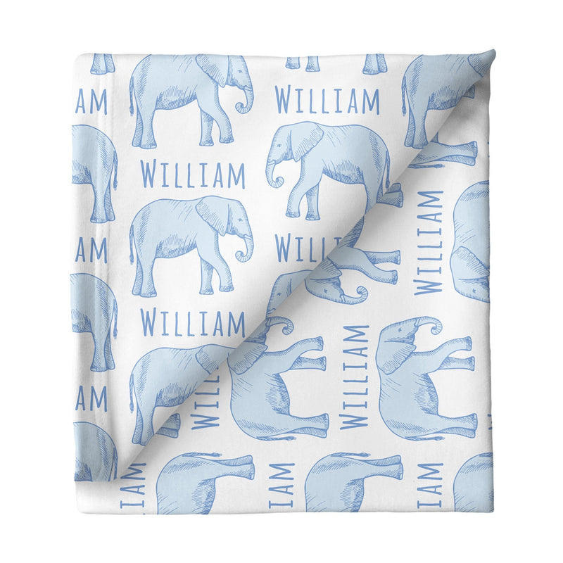 Sugar + Maple Small Stretchy Blanket - Elephant Blue